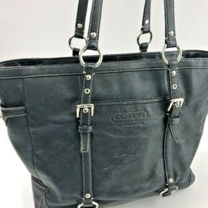 Coach F11525 Black Leather Gallery Tote Satchel